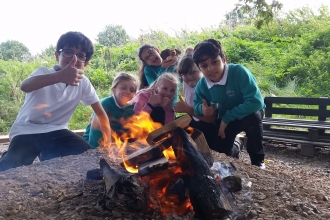 Children around the campfire