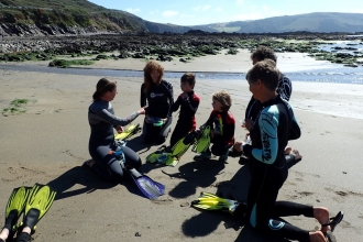 Preparing to snorkel at Wembury Marine Centre