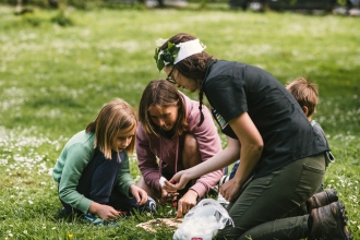 Emily Bacon of Wildlife Champions project with children