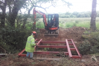 Building a new bridge at Dunsdon National Nature Reserve