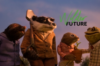 badger ratty toad and mole with wilder future logo