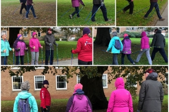 People learning Nordic Walking