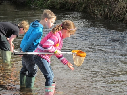 Children stream dipping