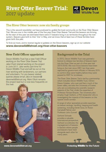 Front cover of River Otter Beaver Trial 2017 update