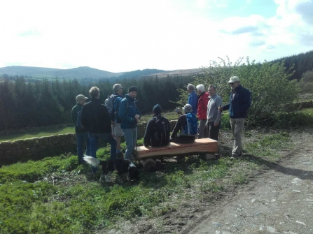 People using a bench at Bellever Moor and Meadows
