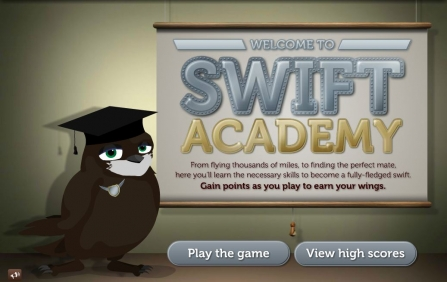 Swift Academy game homepage with swift standing in front of screen