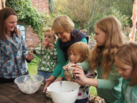 Making bird feeders at at Devon Wildlife Trust event