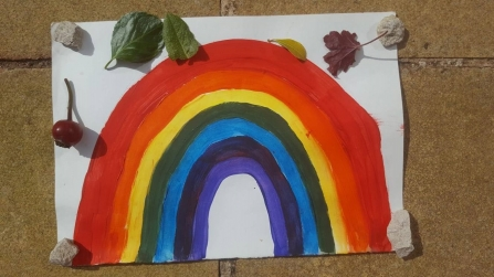 Painted picture of a rainbow